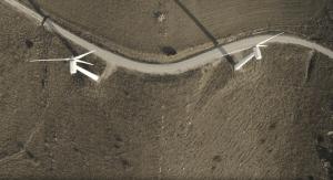 Vista aérea de molinos filmada con un dron. Dronspain